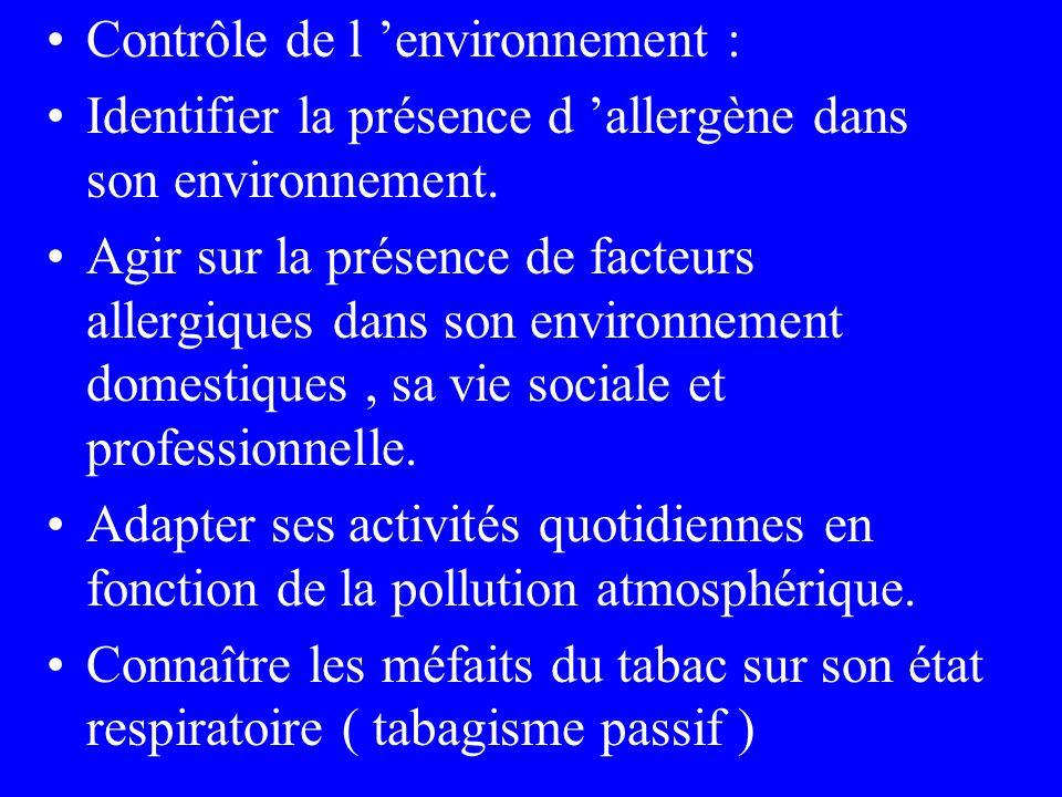 Contrôle de l environnement : Identifier la présence d allergène dans son environnement. Agir sur la présence de facteurs allergiques dans son environ