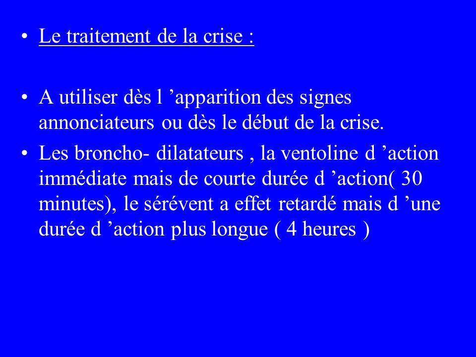 Le traitement de la crise : A utiliser dès l apparition des signes annonciateurs ou dès le début de la crise. Les broncho- dilatateurs, la ventoline d