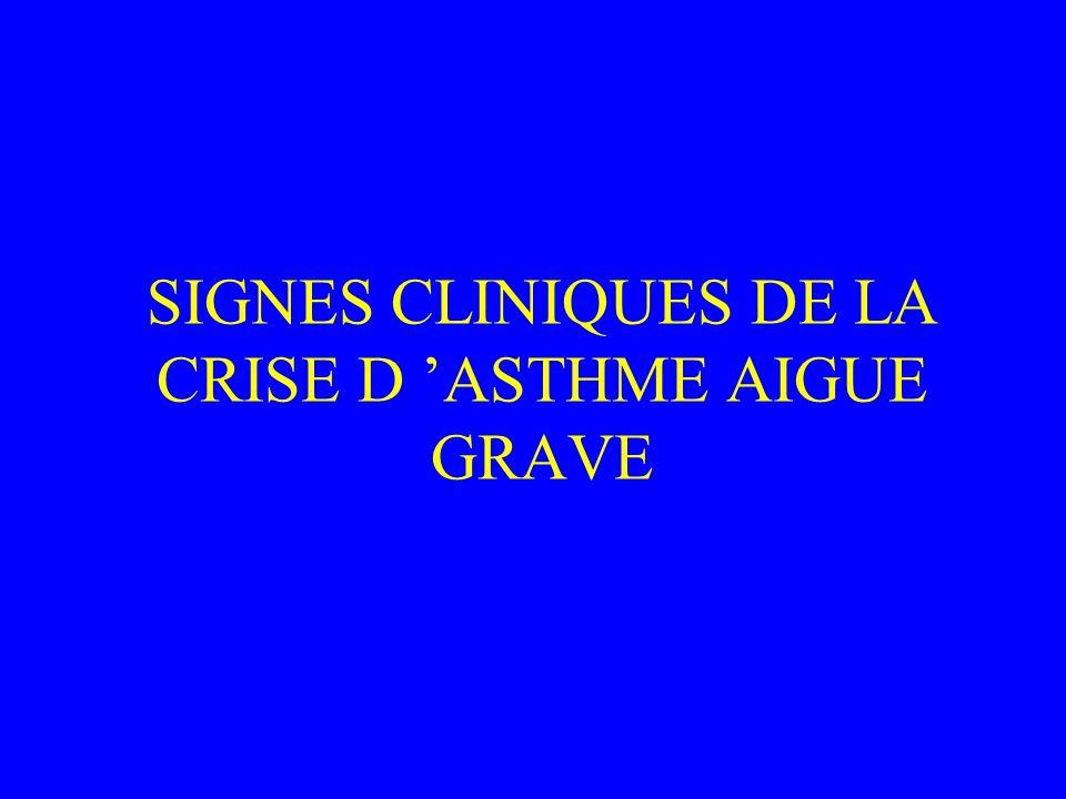 SIGNES CLINIQUES DE LA CRISE D ASTHME AIGUE GRAVE