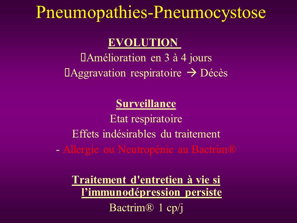 EVOLUTION Amélioration en 3 à 4 jours Aggravation respiratoire Décès Surveillance Etat respiratoire Effets indésirables du traitement - Allergie ou Ne