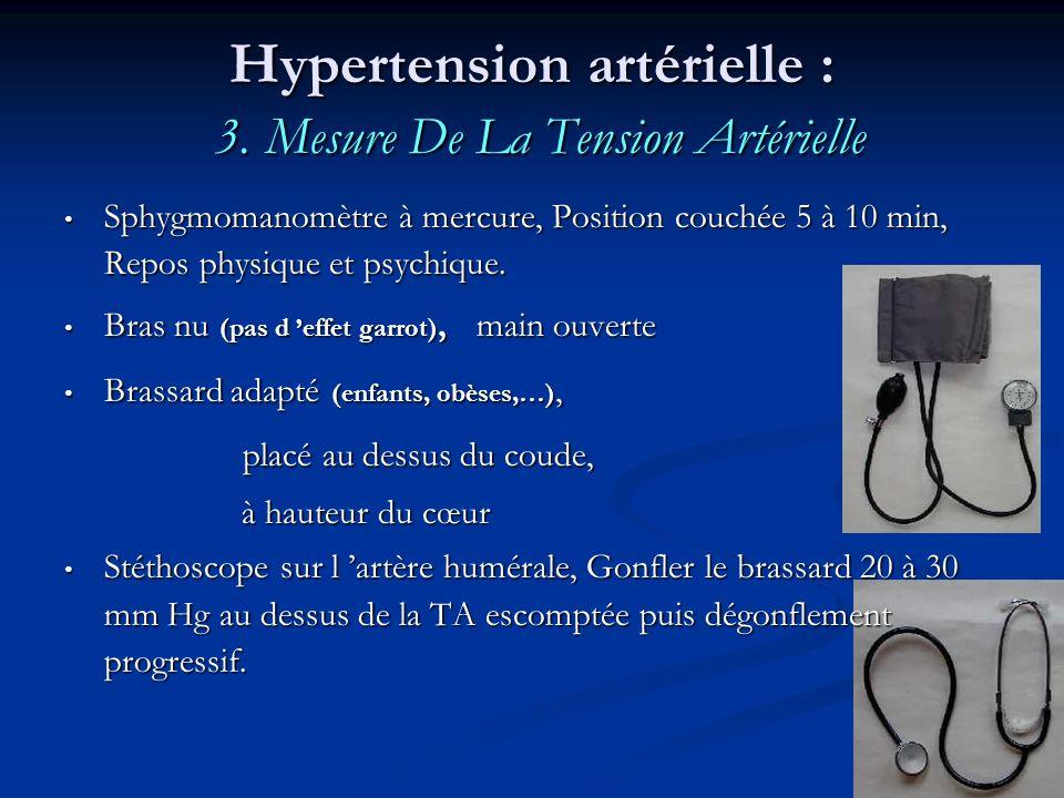 Hypertension artérielle : 3. Mesure De La Tension Artérielle Sphygmomanomètre à mercure, Position couchée 5 à 10 min, Repos physique et psychique. Sph