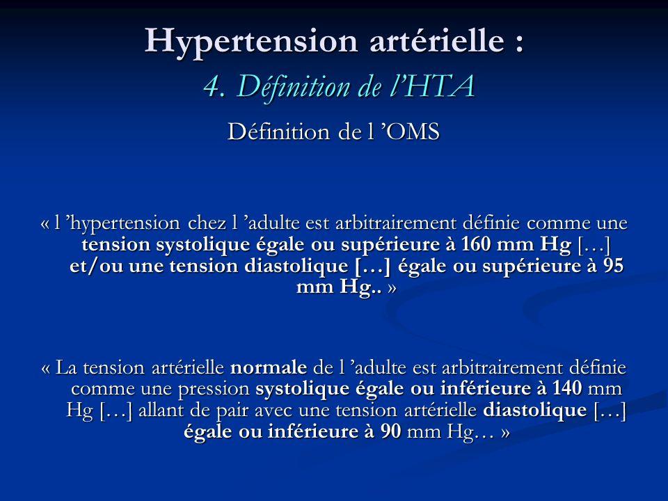 Hypertension artérielle : 4. Définition de lHTA Définition de l OMS « l hypertension chez l adulte est arbitrairement définie comme une tension systol