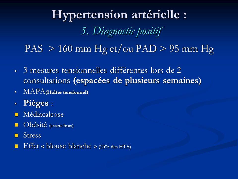 Hypertension artérielle : 5. Diagnostic positif PAS > 160 mm Hg et/ou PAD > 95 mm Hg 3 mesures tensionnelles différentes lors de 2 consultations (espa