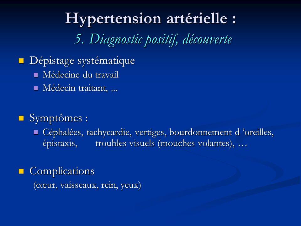 Hypertension artérielle : 5. Diagnostic positif, découverte Dépistage systématique Dépistage systématique Médecine du travail Médecine du travail Méde
