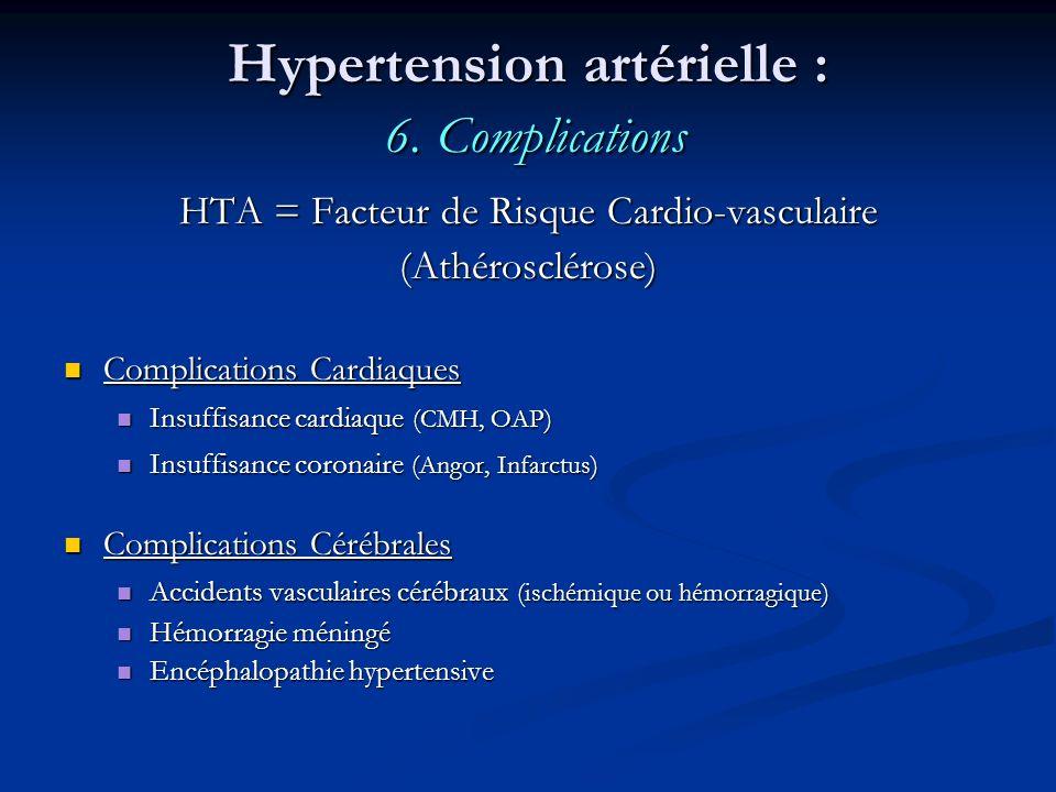 Hypertension artérielle : 6. Complications HTA = Facteur de Risque Cardio-vasculaire (Athérosclérose) Complications Cardiaques Complications Cardiaque
