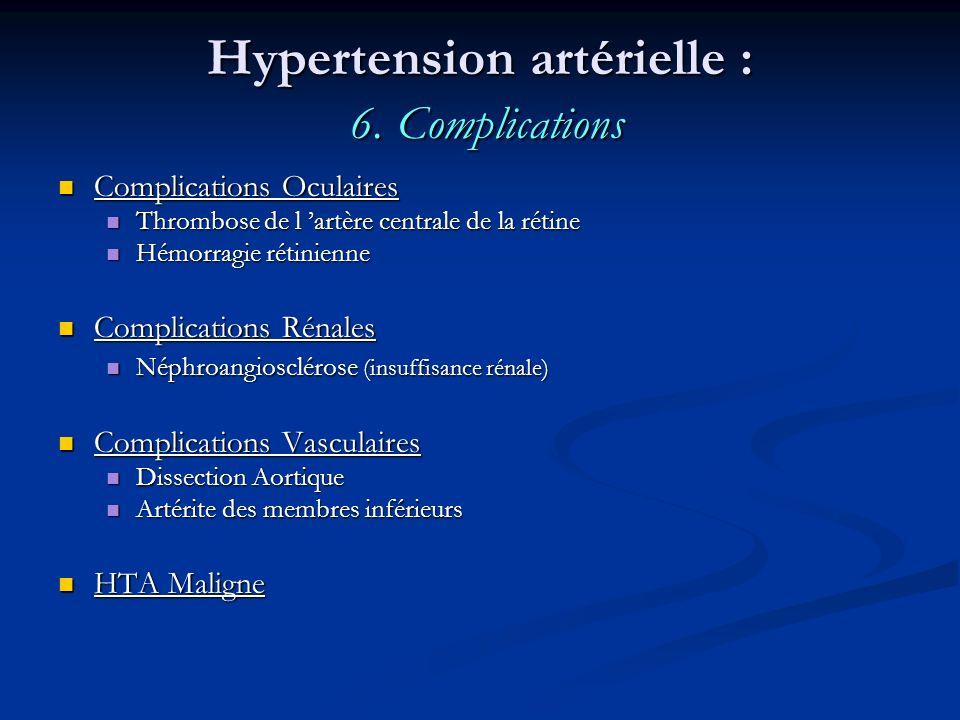 Hypertension artérielle : 6. Complications Complications Oculaires Complications Oculaires Thrombose de l artère centrale de la rétine Thrombose de l