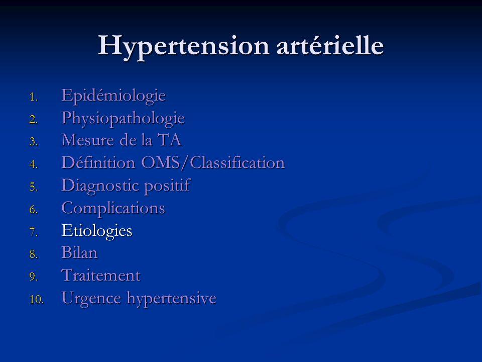 Hypertension artérielle 1. Epidémiologie 2. Physiopathologie 3. Mesure de la TA 4. Définition OMS/Classification 5. Diagnostic positif 6. Complication