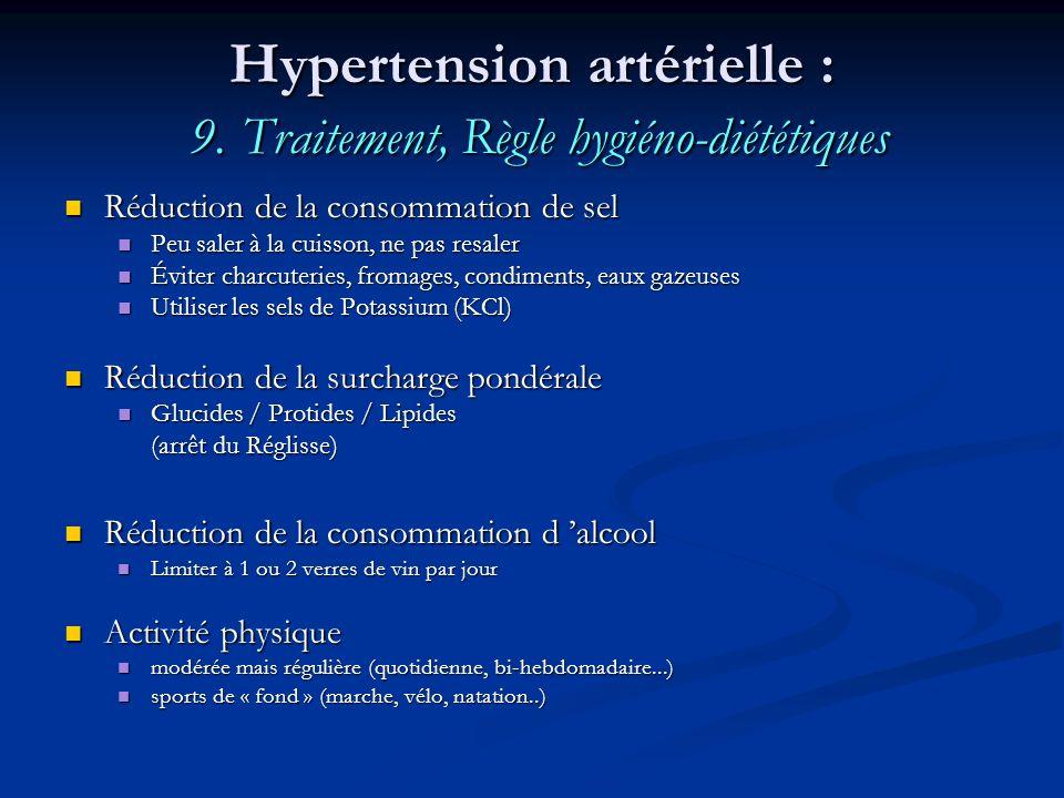 Hypertension artérielle : 9. Traitement, Règle hygiéno-diététiques Réduction de la consommation de sel Réduction de la consommation de sel Peu saler à