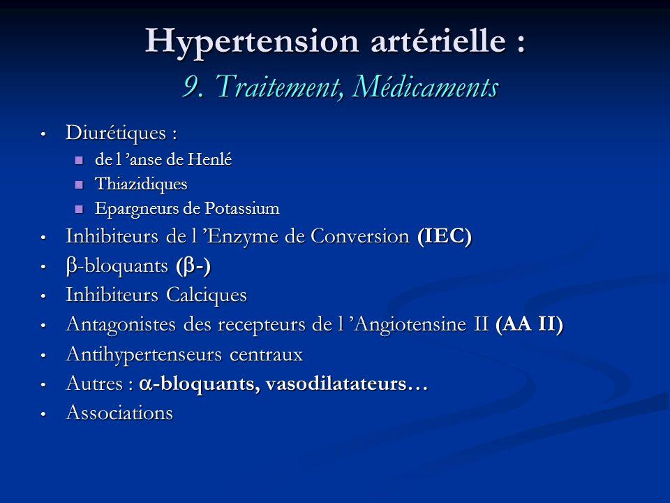 Hypertension artérielle : 9. Traitement, Médicaments Diurétiques : Diurétiques : de l anse de Henlé de l anse de Henlé Thiazidiques Thiazidiques Eparg