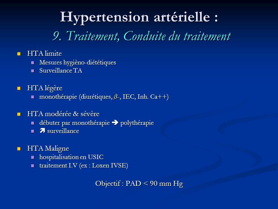 Hypertension artérielle : 9. Traitement, Conduite du traitement HTA limite HTA limite Mesures hygièno-diététiques Mesures hygièno-diététiques Surveill