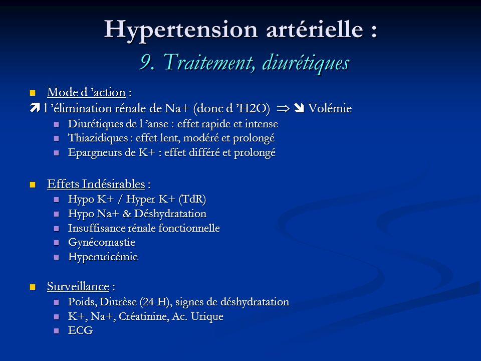 Hypertension artérielle : 9. Traitement, diurétiques Mode d action : Mode d action : l élimination rénale de Na+ (donc d H2O) Volémie l élimination ré