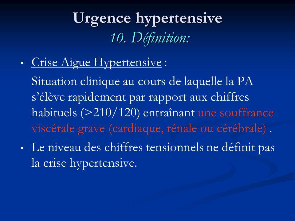 Urgence hypertensive 10. Définition: Crise Aigue Hypertensive : Situation clinique au cours de laquelle la PA sélève rapidement par rapport aux chiffr