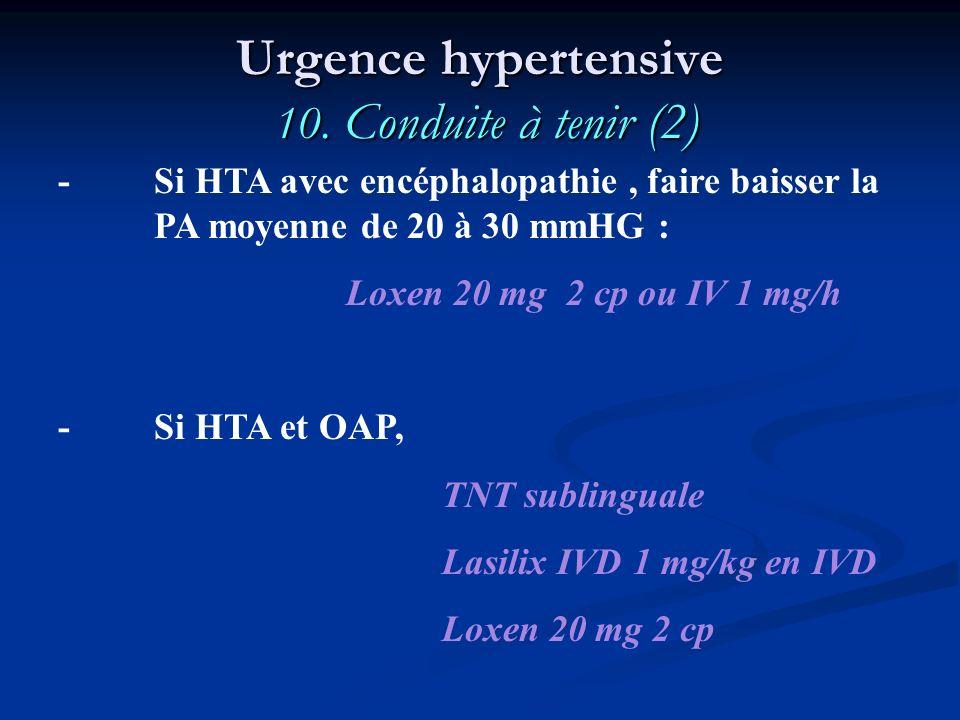 - Si HTA avec encéphalopathie, faire baisser la PA moyenne de 20 à 30 mmHG : Loxen 20 mg 2 cp ou IV 1 mg/h - Si HTA et OAP, TNT sublinguale Lasilix IV