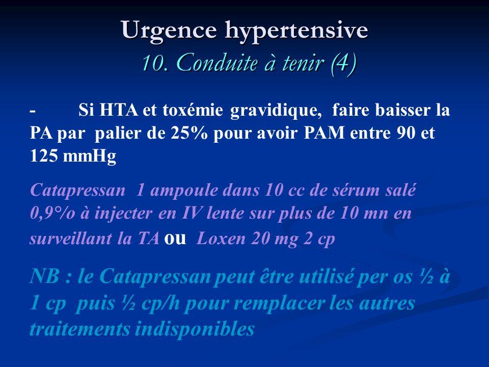 - Si HTA et toxémie gravidique, faire baisser la PA par palier de 25% pour avoir PAM entre 90 et 125 mmHg Catapressan 1 ampoule dans 10 cc de sérum sa