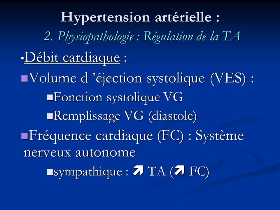 Hypertension artérielle : 2. Physiopathologie : Régulation de la TA Débit cardiaque : Débit cardiaque : Volume d éjection systolique (VES) : Volume d