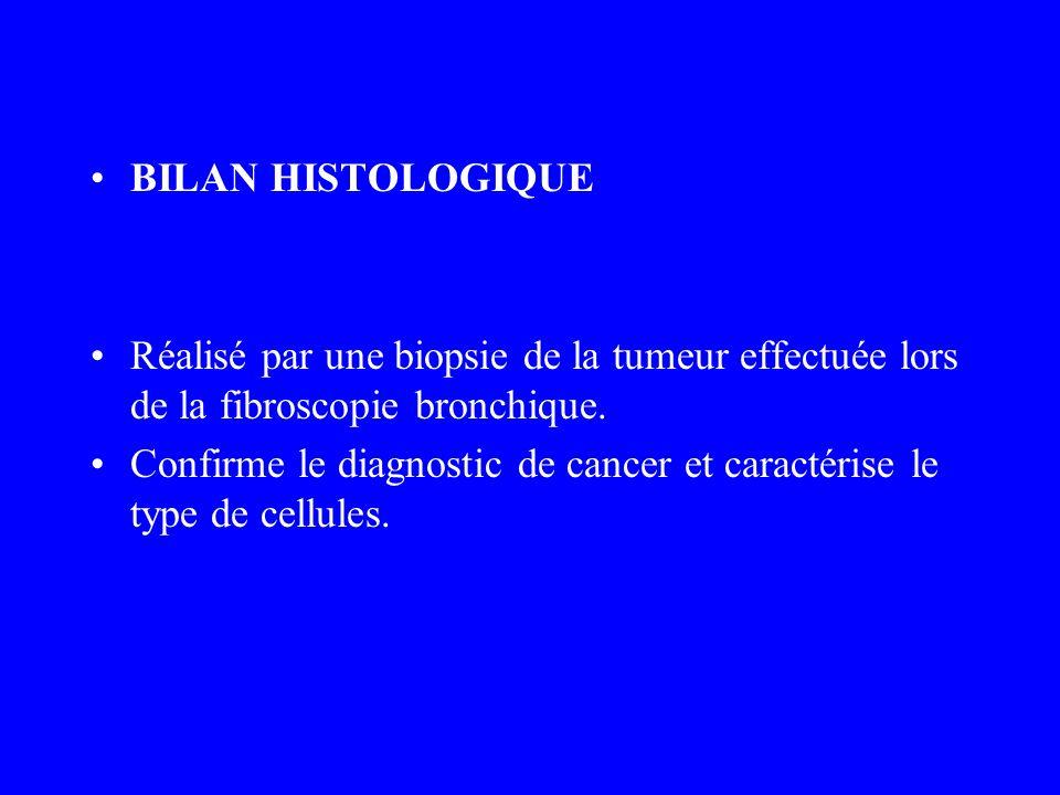 BILAN HISTOLOGIQUE Réalisé par une biopsie de la tumeur effectuée lors de la fibroscopie bronchique. Confirme le diagnostic de cancer et caractérise l