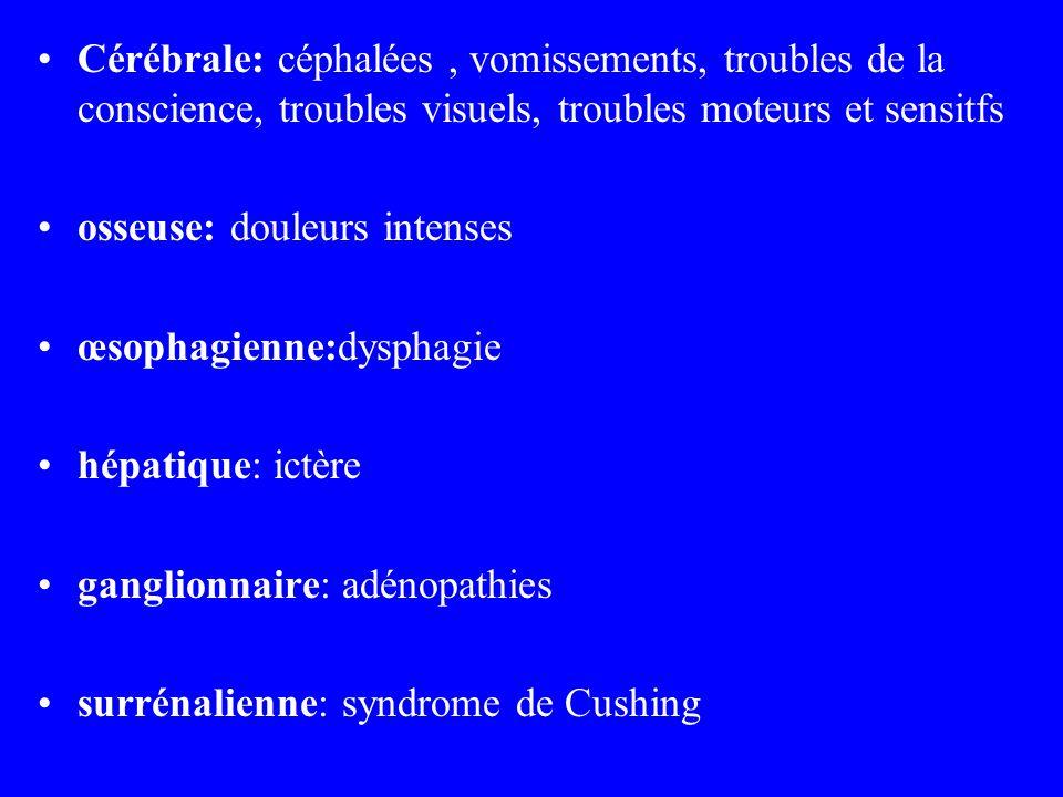 Cérébrale: céphalées, vomissements, troubles de la conscience, troubles visuels, troubles moteurs et sensitfs osseuse: douleurs intenses œsophagienne: