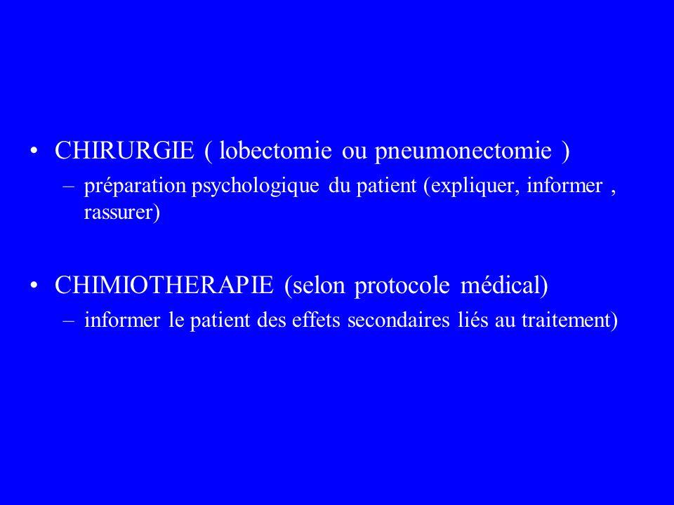CHIRURGIE ( lobectomie ou pneumonectomie ) –préparation psychologique du patient (expliquer, informer, rassurer) CHIMIOTHERAPIE (selon protocole médic