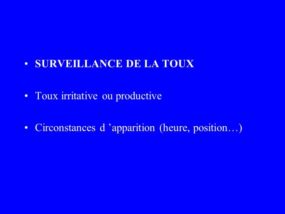 SURVEILLANCE DE LA TOUX Toux irritative ou productive Circonstances d apparition (heure, position…)