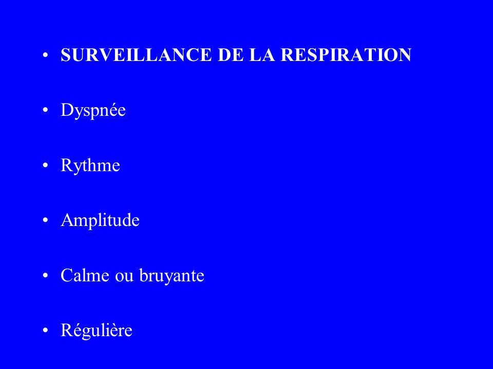 SURVEILLANCE DE LA RESPIRATION Dyspnée Rythme Amplitude Calme ou bruyante Régulière