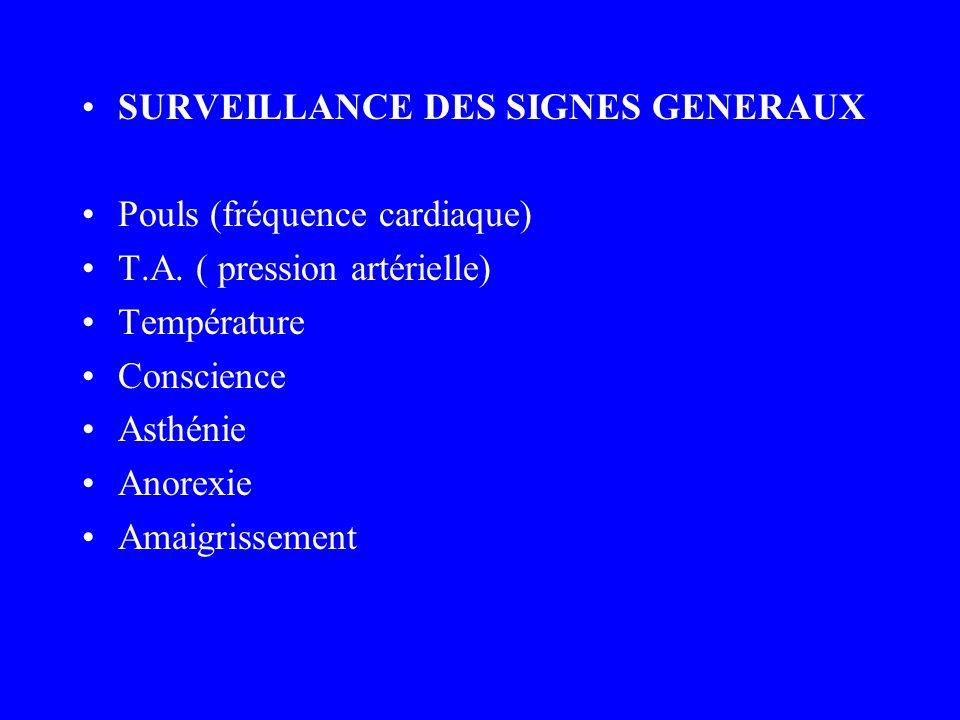 SURVEILLANCE DES SIGNES GENERAUX Pouls (fréquence cardiaque) T.A. ( pression artérielle) Température Conscience Asthénie Anorexie Amaigrissement