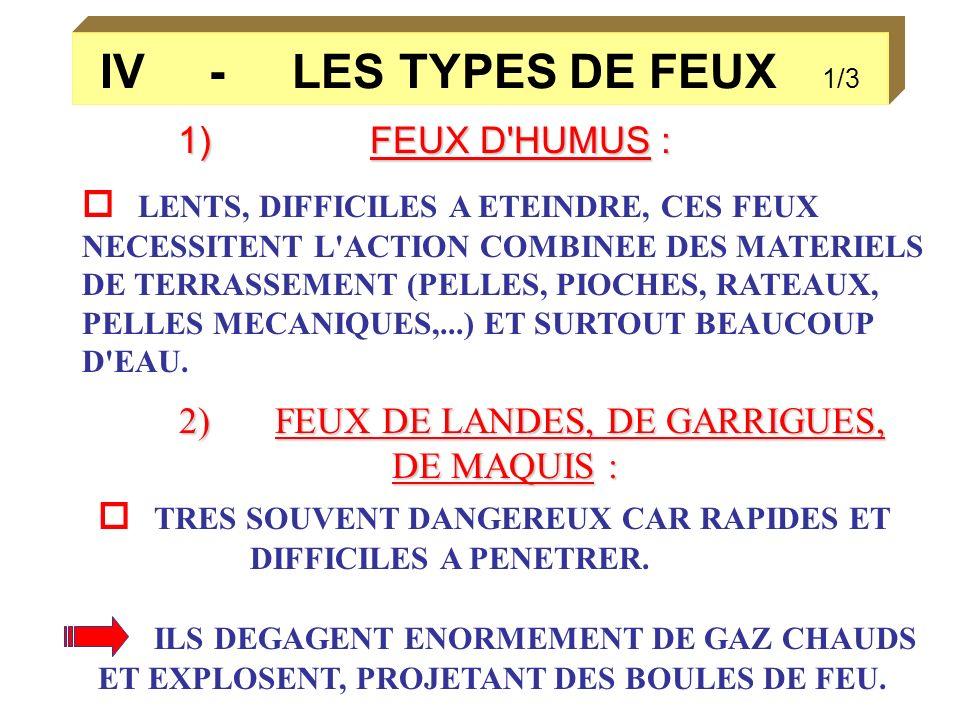IV - LES TYPES DE FEUX 1/3 1)FEUX D'HUMUS : LENTS, DIFFICILES A ETEINDRE, CES FEUX NECESSITENT L'ACTION COMBINEE DES MATERIELS DE TERRASSEMENT (PELLES