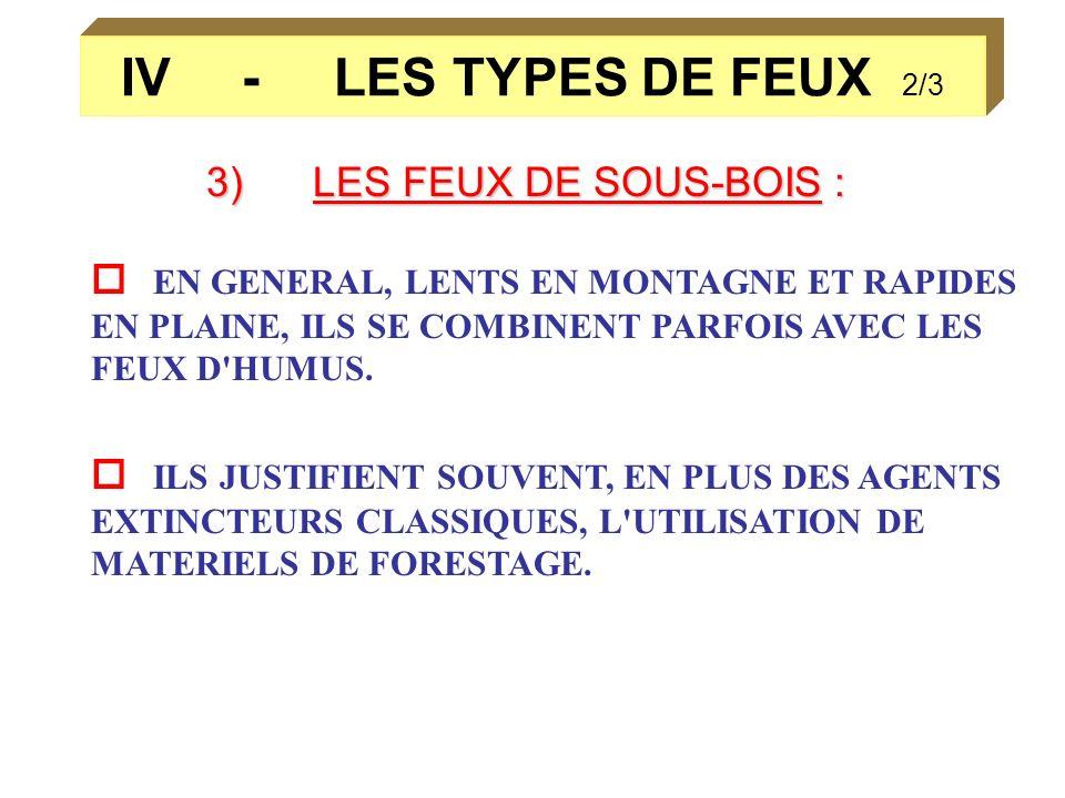 IV - LES TYPES DE FEUX 2/3 3)LES FEUX DE SOUS-BOIS : EN GENERAL, LENTS EN MONTAGNE ET RAPIDES EN PLAINE, ILS SE COMBINENT PARFOIS AVEC LES FEUX D'HUMU