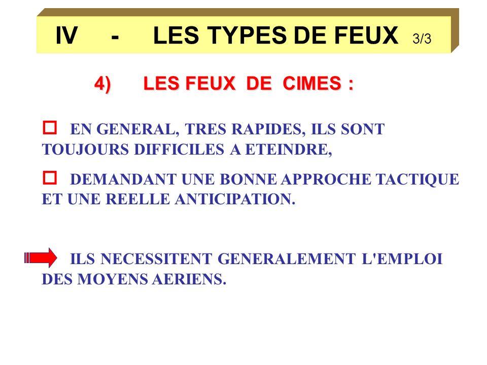 IV - LES TYPES DE FEUX 3/3 4)LES FEUX DE CIMES : EN GENERAL, TRES RAPIDES, ILS SONT TOUJOURS DIFFICILES A ETEINDRE, DEMANDANT UNE BONNE APPROCHE TACTI