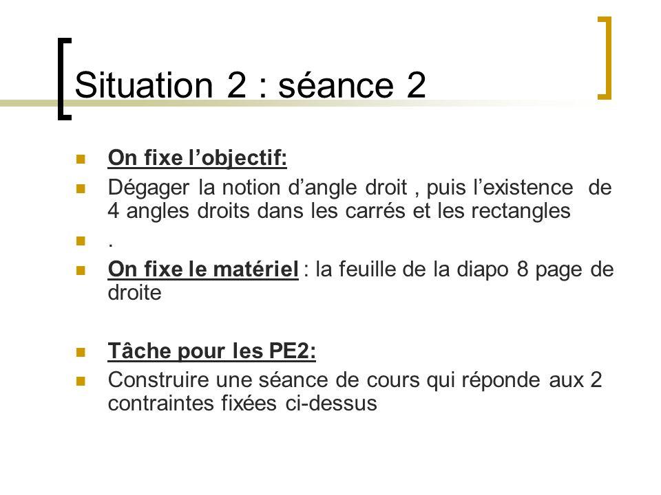 Situation 2 : séance 2 On fixe lobjectif: Dégager la notion dangle droit, puis lexistence de 4 angles droits dans les carrés et les rectangles. On fix