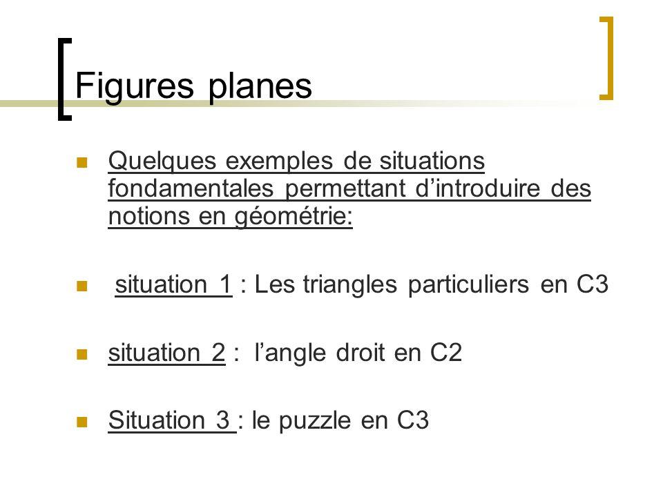 Figures planes Quelques exemples de situations fondamentales permettant dintroduire des notions en géométrie: situation 1 : Les triangles particuliers