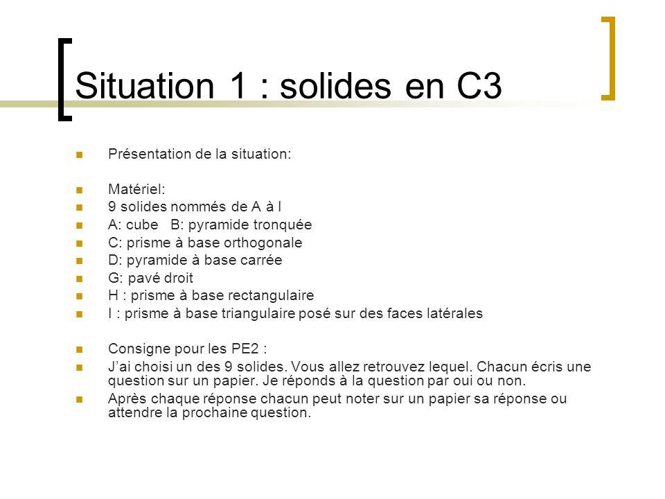 Situation 1 : solides en C3 Présentation de la situation: Matériel: 9 solides nommés de A à I A: cube B: pyramide tronquée C: prisme à base orthogonal