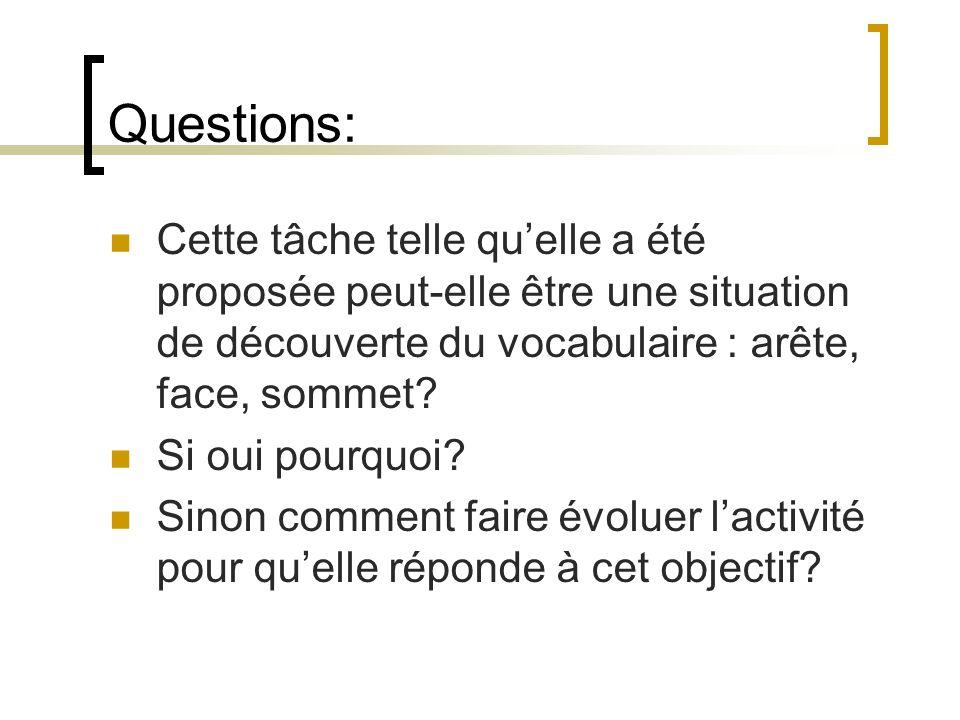 Questions: Cette tâche telle quelle a été proposée peut-elle être une situation de découverte du vocabulaire : arête, face, sommet? Si oui pourquoi? S