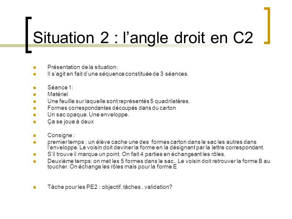 Situation 2 : langle droit en C2 Présentation de la situation: Il sagit en fait dune séquence constituée de 3 séances. Séance 1: Matériel Une feuille
