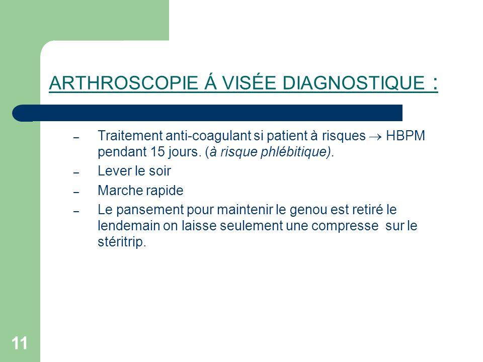 11 ARTHROSCOPIE Á VISÉE DIAGNOSTIQUE : – Traitement anti-coagulant si patient à risques HBPM pendant 15 jours. (à risque phlébitique). – Lever le soir