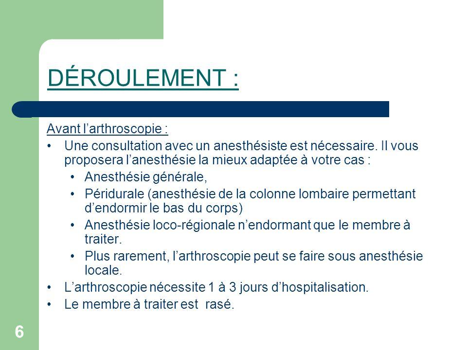6 DÉROULEMENT : Avant larthroscopie : Une consultation avec un anesthésiste est nécessaire. Il vous proposera lanesthésie la mieux adaptée à votre cas