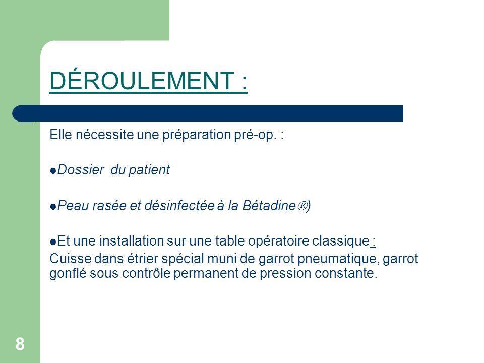 8 DÉROULEMENT : Elle nécessite une préparation pré-op. : Dossier du patient Peau rasée et désinfectée à la Bétadine ) Et une installation sur une tabl
