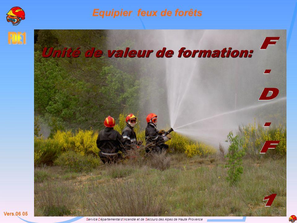 Service Départemental dIncendie et de Secours des Alpes de Haute Provence Unité de valeur de formation: Equipier feux de forêts Vers.06 05