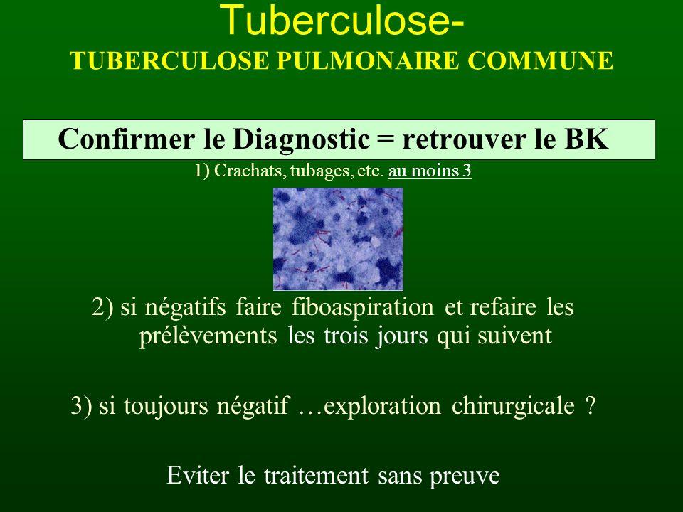 Confirmer le Diagnostic = retrouver le BK 1) Crachats, tubages, etc. au moins 3 2) si négatifs faire fiboaspiration et refaire les prélèvements les tr