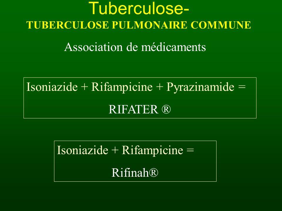Tuberculose- TUBERCULOSE PULMONAIRE COMMUNE Association de médicaments Isoniazide + Rifampicine + Pyrazinamide = RIFATER ® Isoniazide + Rifampicine =
