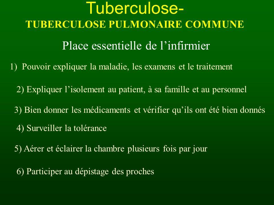 Tuberculose- TUBERCULOSE PULMONAIRE COMMUNE Place essentielle de linfirmier 1) Pouvoir expliquer la maladie, les examens et le traitement 2) Expliquer