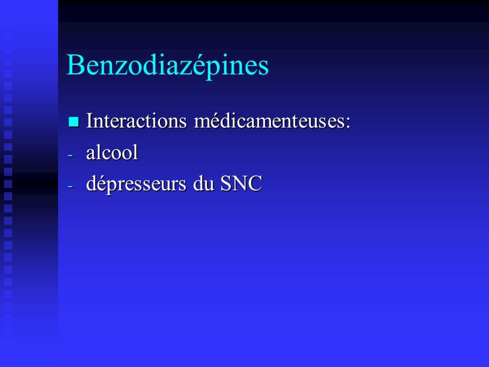 Benzodiazépines Interactions médicamenteuses: Interactions médicamenteuses: - alcool - dépresseurs du SNC