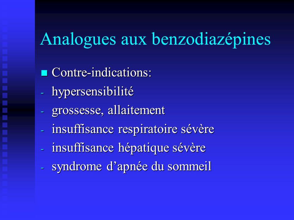 Analogues aux benzodiazépines Contre-indications: Contre-indications: - hypersensibilité - grossesse, allaitement - insuffisance respiratoire sévère - insuffisance hépatique sévère - syndrome dapnée du sommeil
