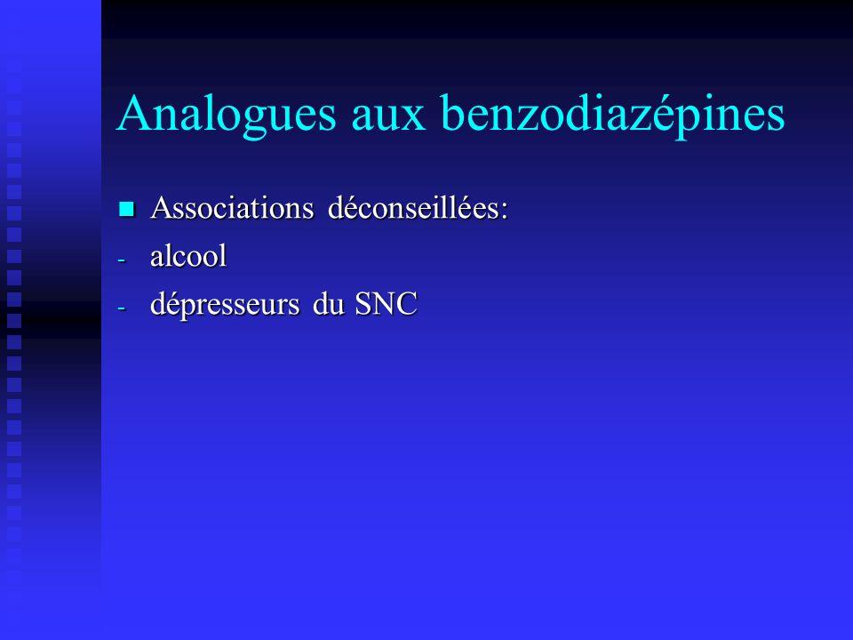 Analogues aux benzodiazépines Associations déconseillées: Associations déconseillées: - alcool - dépresseurs du SNC