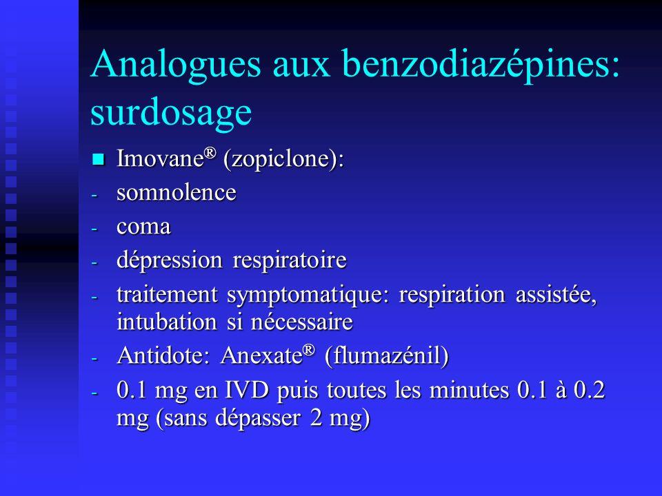 Analogues aux benzodiazépines: surdosage Imovane ® (zopiclone): Imovane ® (zopiclone): - somnolence - coma - dépression respiratoire - traitement symptomatique: respiration assistée, intubation si nécessaire - Antidote: Anexate ® (flumazénil) - 0.1 mg en IVD puis toutes les minutes 0.1 à 0.2 mg (sans dépasser 2 mg)