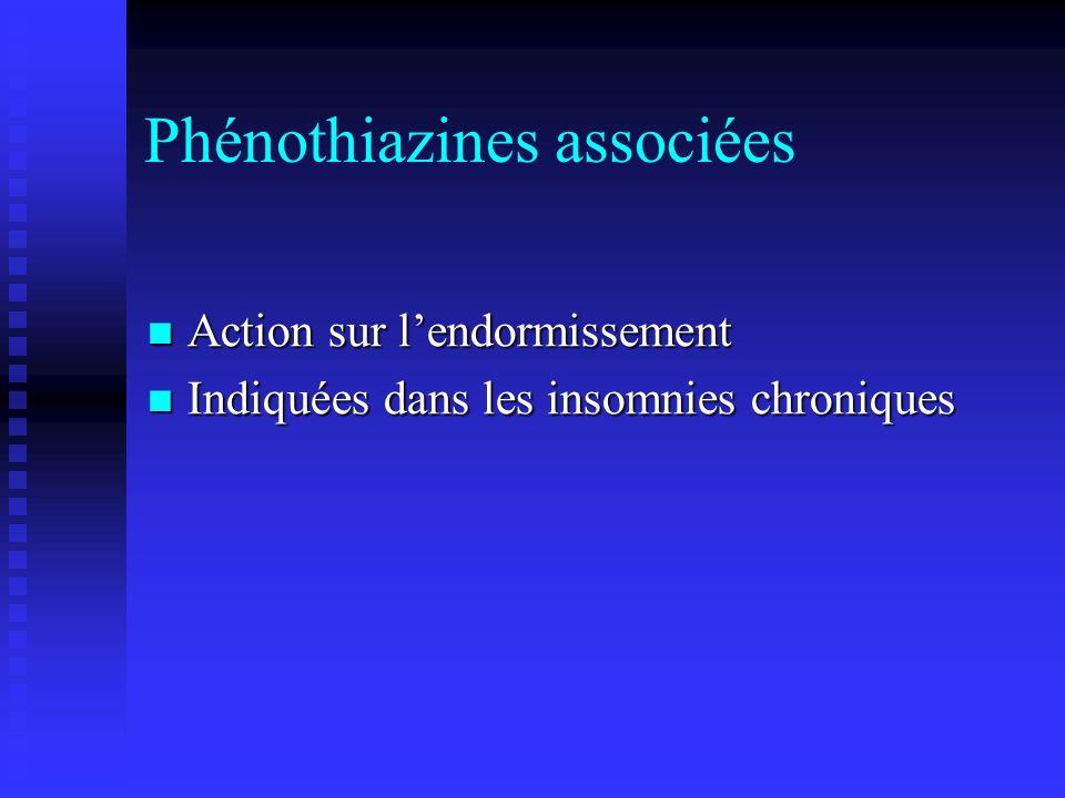 Phénothiazines associées Action sur lendormissement Action sur lendormissement Indiquées dans les insomnies chroniques Indiquées dans les insomnies chroniques