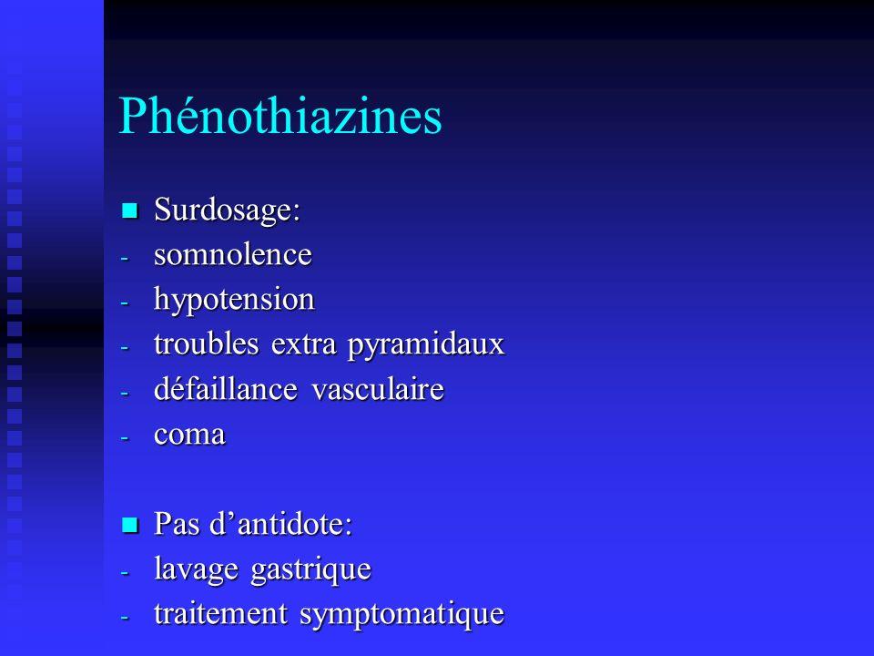 Phénothiazines Surdosage: Surdosage: - somnolence - hypotension - troubles extra pyramidaux - défaillance vasculaire - coma Pas dantidote: Pas dantidote: - lavage gastrique - traitement symptomatique