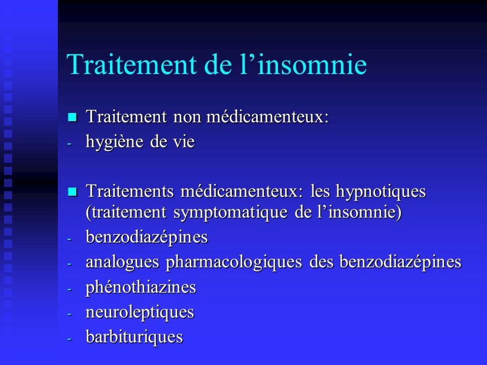 Traitement de linsomnie Traitement non médicamenteux: Traitement non médicamenteux: - hygiène de vie Traitements médicamenteux: les hypnotiques (traitement symptomatique de linsomnie) Traitements médicamenteux: les hypnotiques (traitement symptomatique de linsomnie) - benzodiazépines - analogues pharmacologiques des benzodiazépines - phénothiazines - neuroleptiques - barbituriques