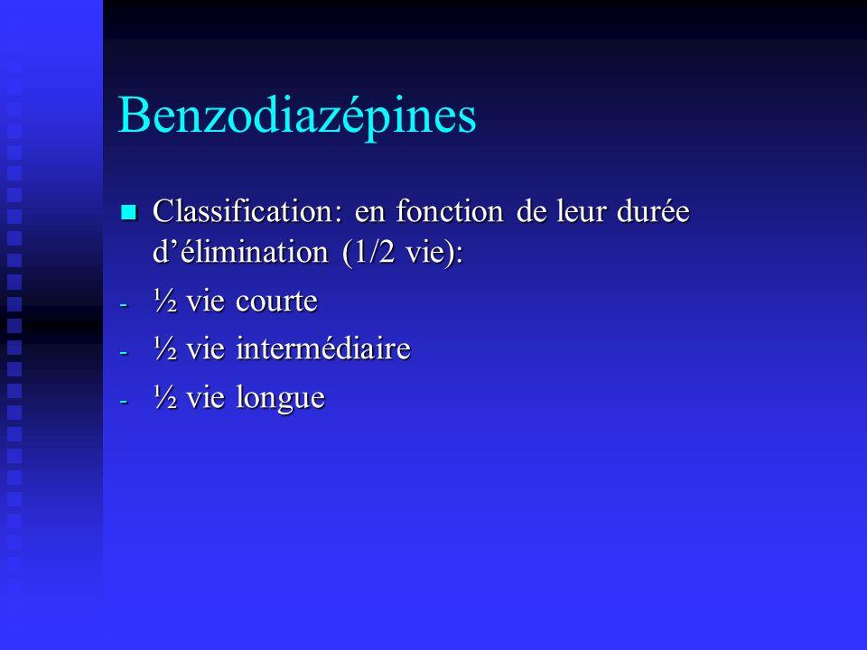 Benzodiazépines Classification: en fonction de leur durée délimination (1/2 vie): Classification: en fonction de leur durée délimination (1/2 vie): - ½ vie courte - ½ vie intermédiaire - ½ vie longue