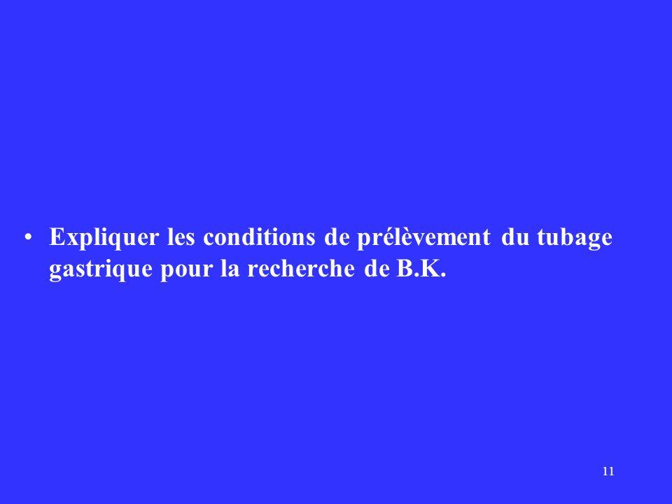 11 Expliquer les conditions de prélèvement du tubage gastrique pour la recherche de B.K.