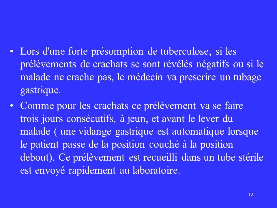 12 Lors d'une forte présomption de tuberculose, si les prélèvements de crachats se sont révélés négatifs ou si le malade ne crache pas, le médecin va